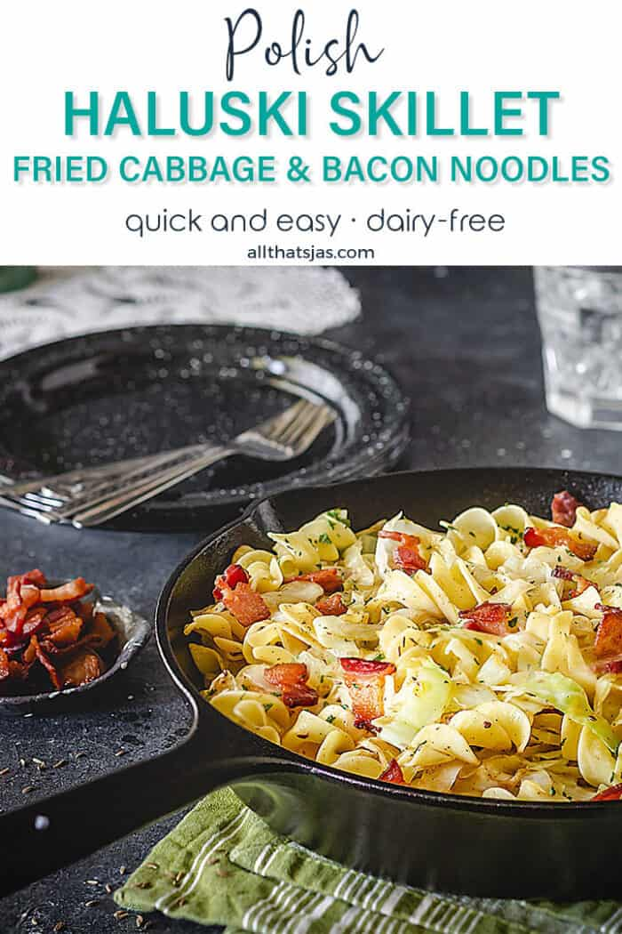 A shot of the skillet filled with noodles, fried cabbage, and bacon with text overlay