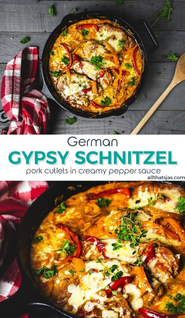 An image with two photos of Gypsy schnitzel with text overlay in the middle.