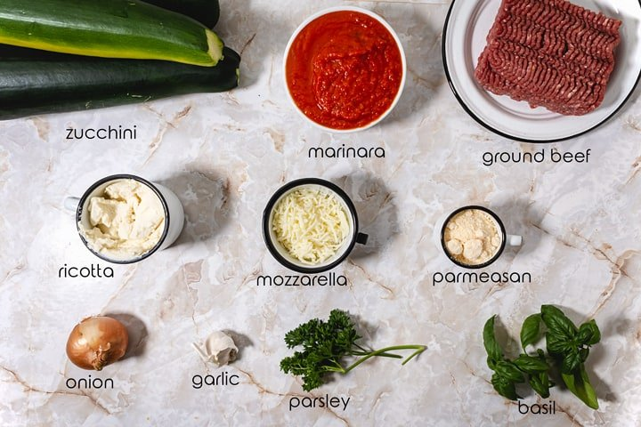 Ingredients for this low carb lasagne dish