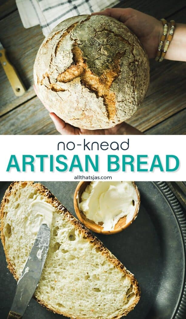 Two photo image of no knead artisan loaf with text overlay in the middle.