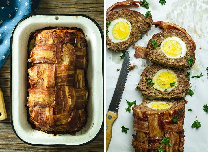 Two photo image of baked and sliced meatloaf