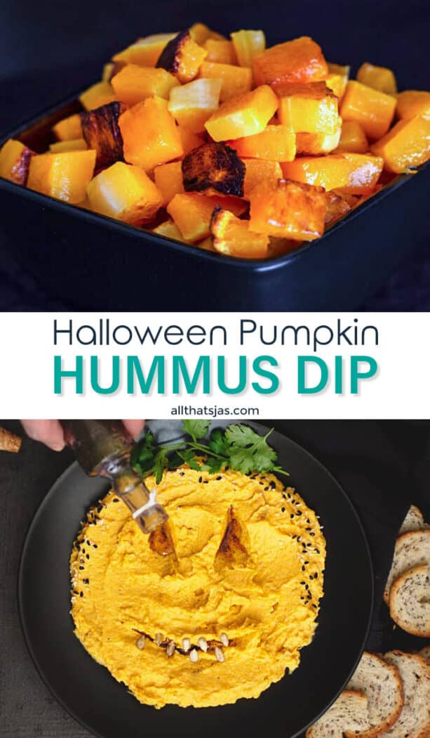 An image of two photos of pumpkin spread with text overlay in the middle