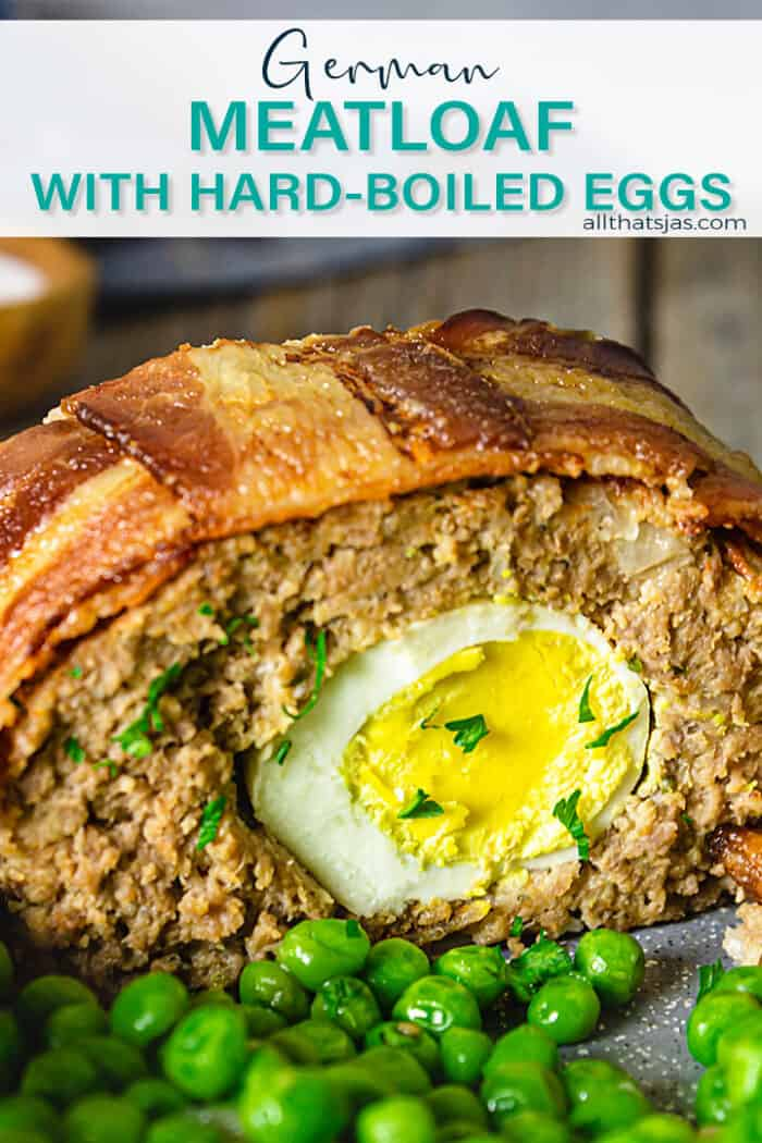 A slice of German meatloaf with hard-boiled egg with peas and text overlay.