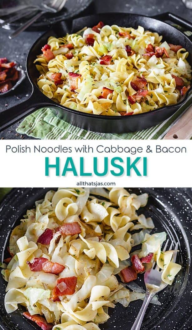 Two photo image of the Haluski recipe with text overlay in the middle