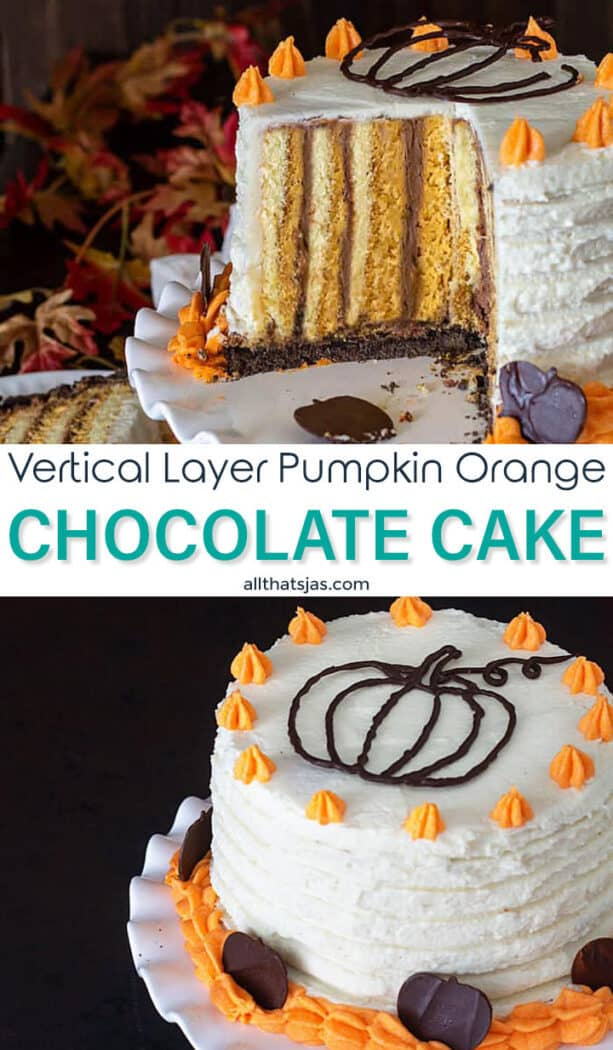 Two photo image of the pumpkin cake with text overlay in the middle
