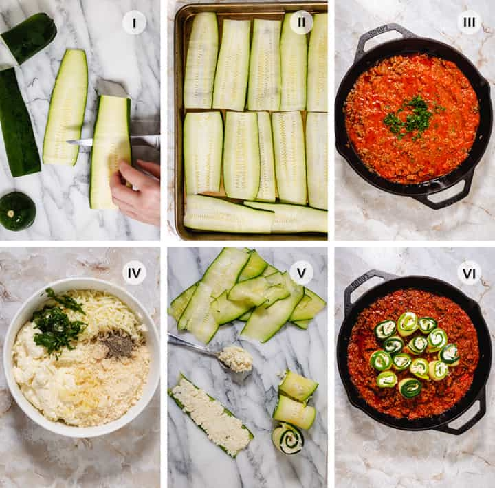 Steps to making zucchini roll-ups with meat sauce