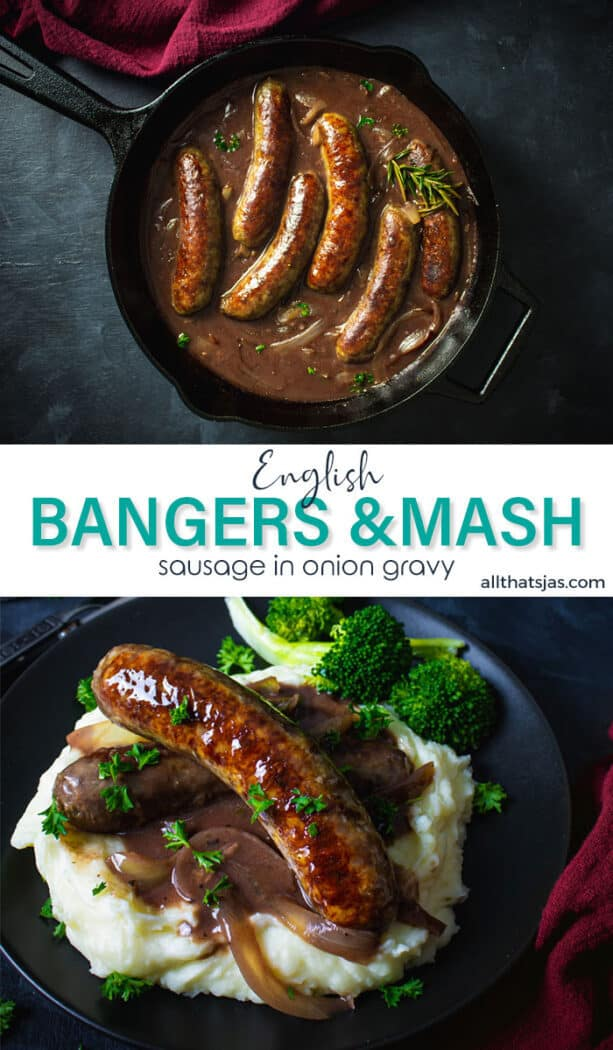 Two photos image of sausages, mash, and gravy with text overlay in the middle