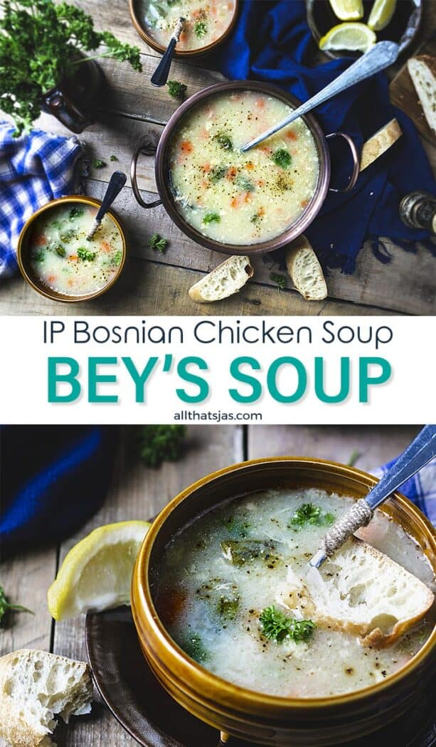 Two photo image of soup in bowls and text overlay in the middle