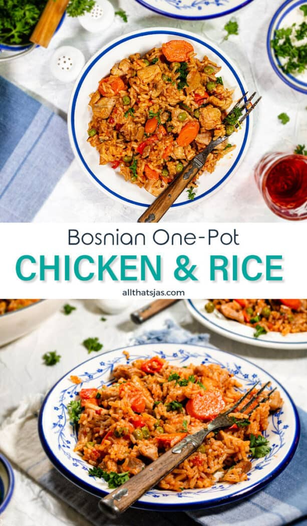 Two photo image of Bosnian one pot rice meal with text overlay in the middle