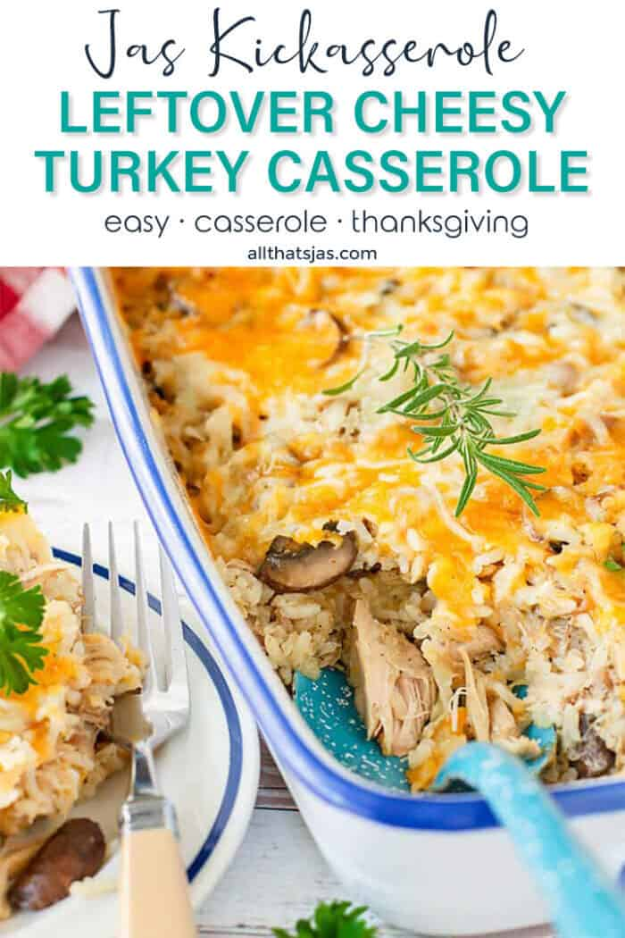 Close up of the leftover turkey casserole dish with text overlay