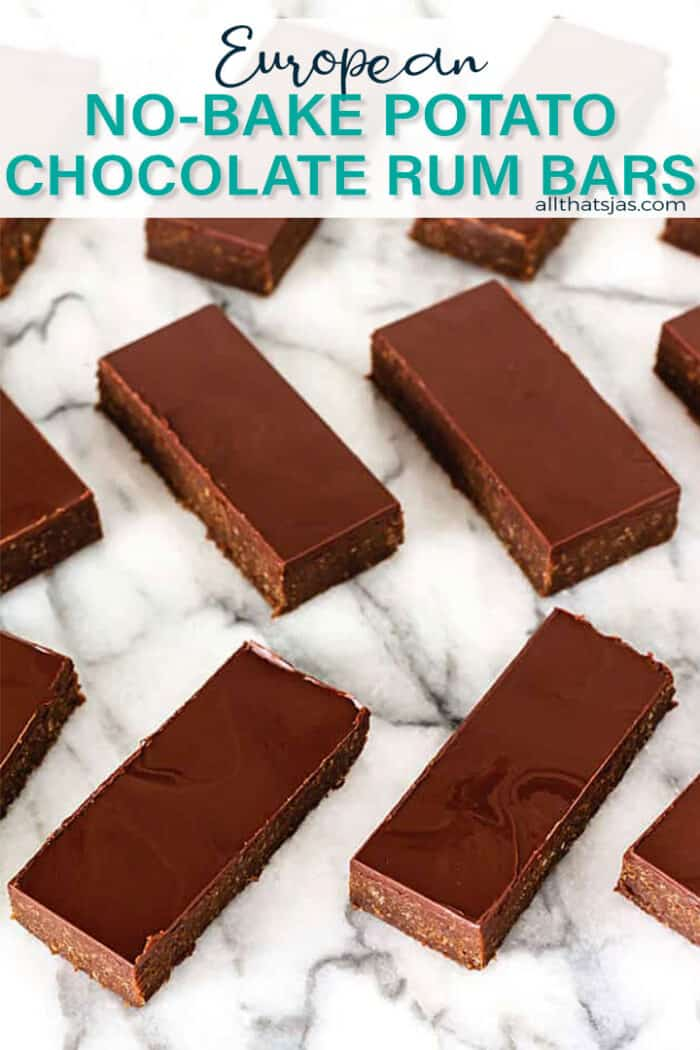 A zig zag of dessert bars with text overlay.