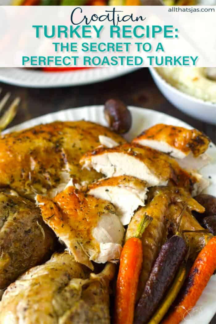 A photo of sleced turkey meat served with roasted carrots with text overlay