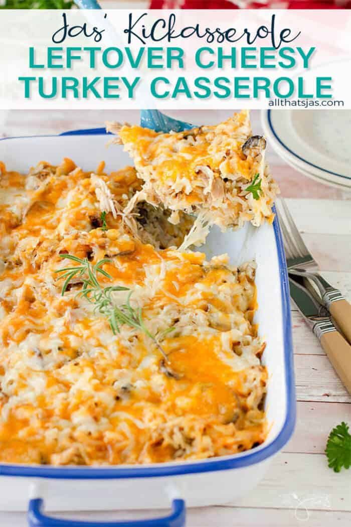 Turkey casserole being served with text overlay