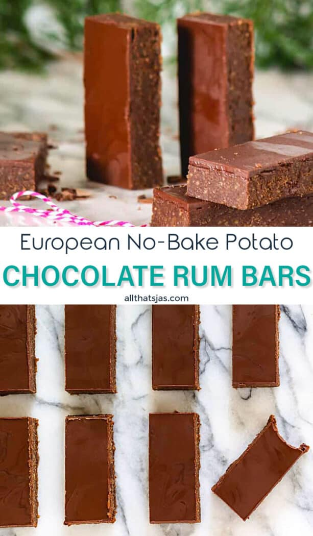 Two photo image of chocolate rum candy with text overlay in the middle