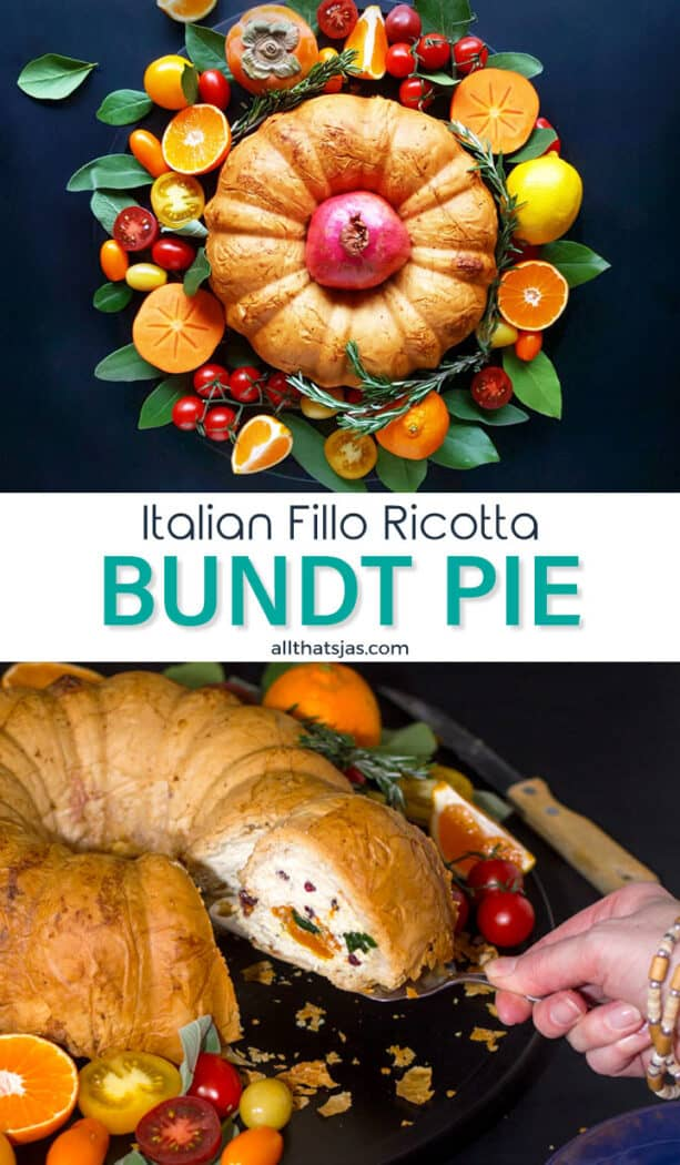 Two photo image of the Italian savory bundt pie with text overlay in the middle