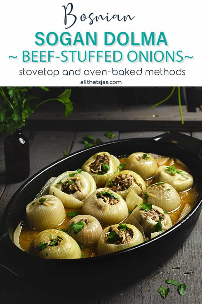 A shot of an oval black baking dish filled with stuffed onions with text overlay