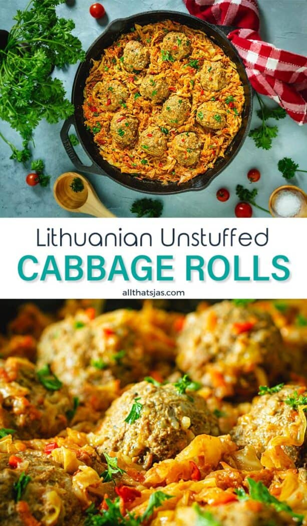 Two photo image of the lazy cabbage rolls with text overlay in the middle.