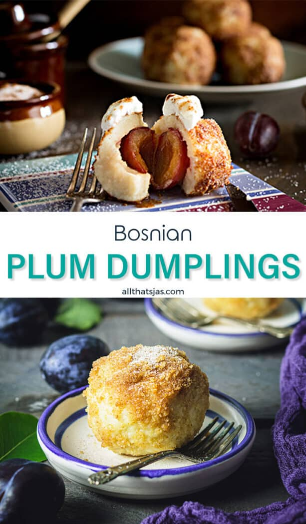 Two photo image of the Balkan's sweet potato dumpling recipe with text overlay in the middle