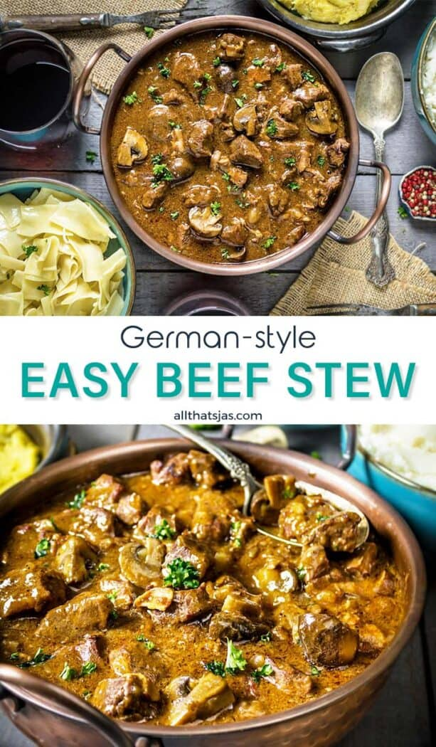 Two photo image of the easy beef bourguignon with text overlay in the middle