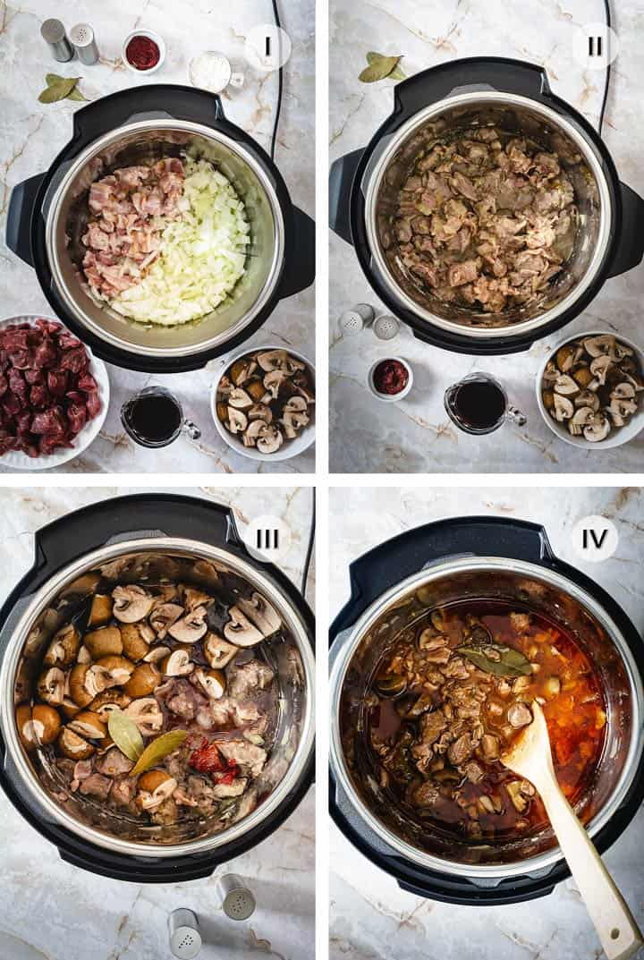 Four step-image on how to make stew in an instant pot