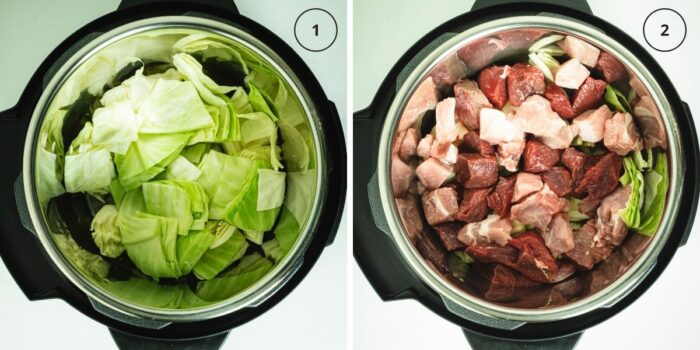 Two photos of instant pot with cabbage layer and then with meat layer.