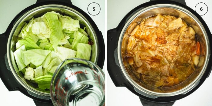 Two photos of instant pot with adding water to the finished layers and then with cooked stew.