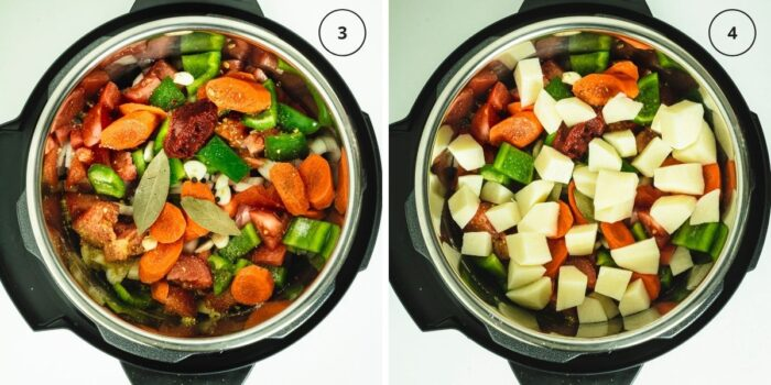 Two photos of instant pot with layer of vegetables and seasoning and then a potato layer