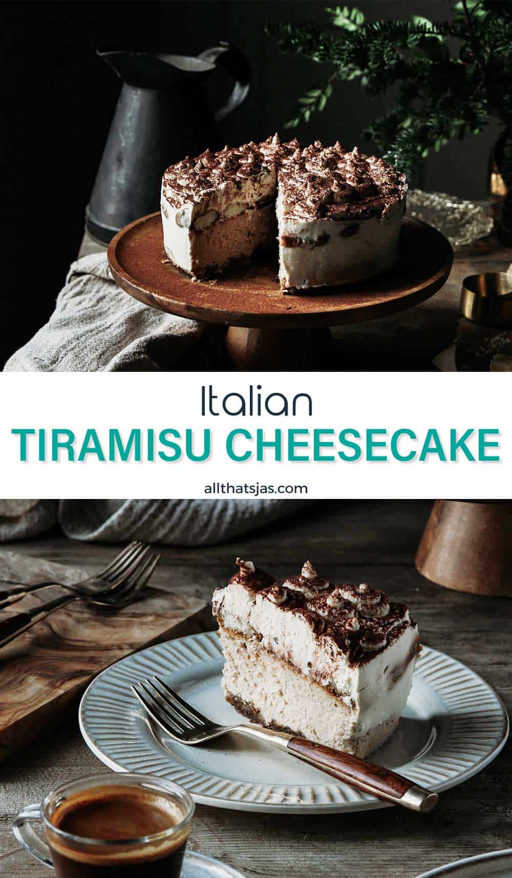 Two photo image of Italian tiramisu cheesecake with text overlay in the middle