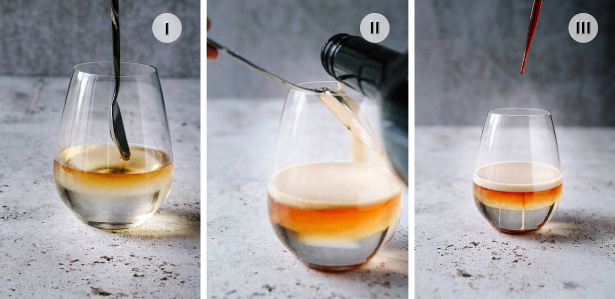 Three phot image of steps to making jellyfish cocktail.