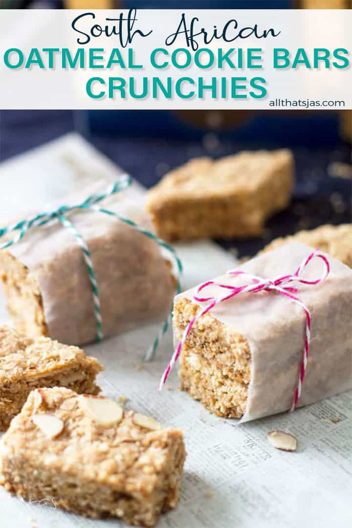 Oatmeal cookies wrapped in paper and tied with text overlay