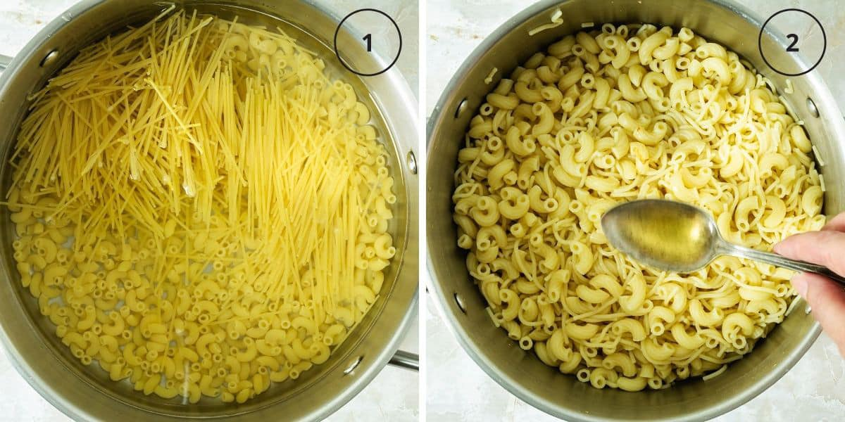 Two photos of pots with uncooked and cooked macaroni and noodles