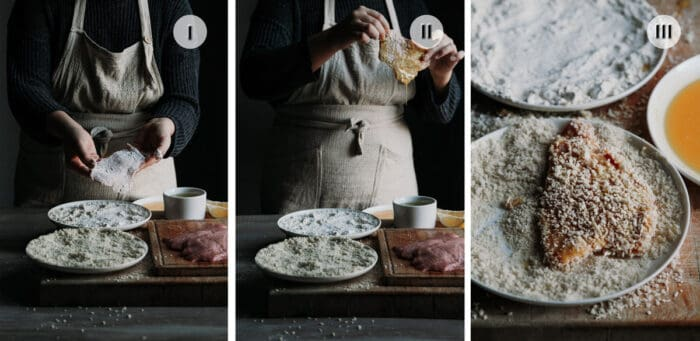 Three photo image of the steps to breading the schnitzels.