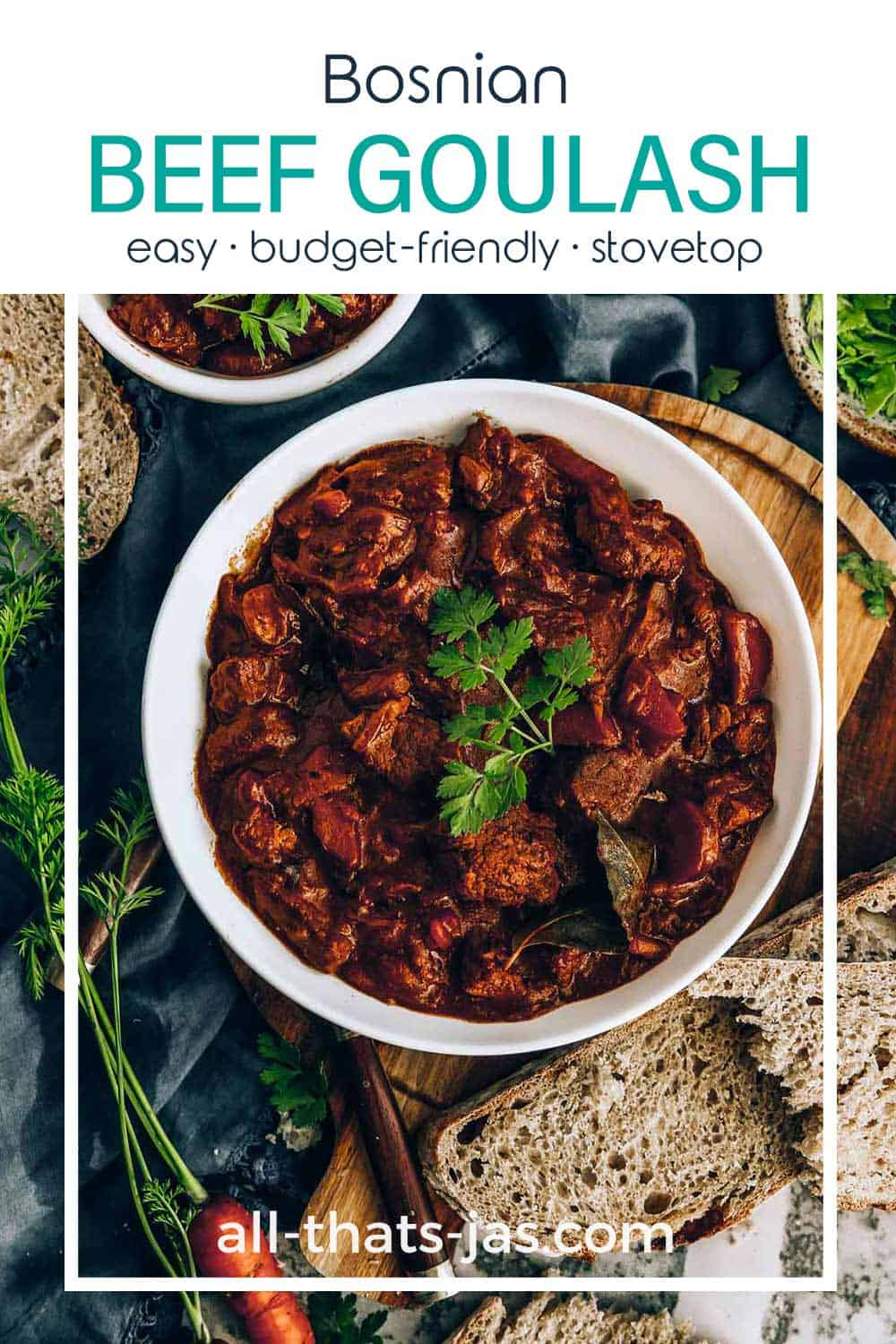 An overhead shot of the beef dish in a bowl and text overlay