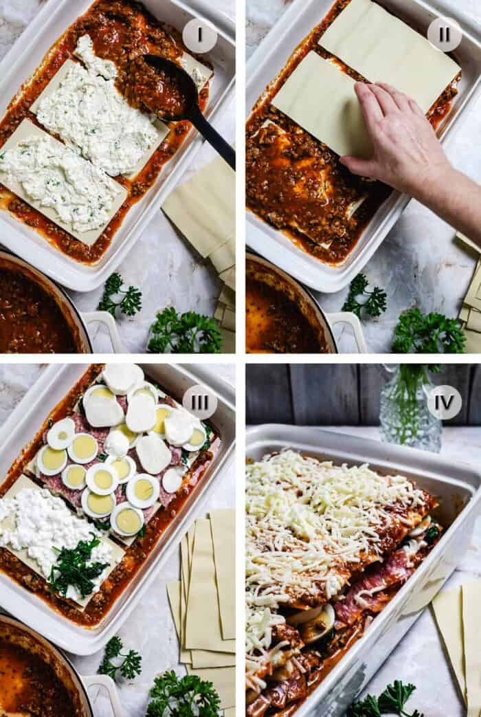 Four photos with person layering ingredients to make lasagna