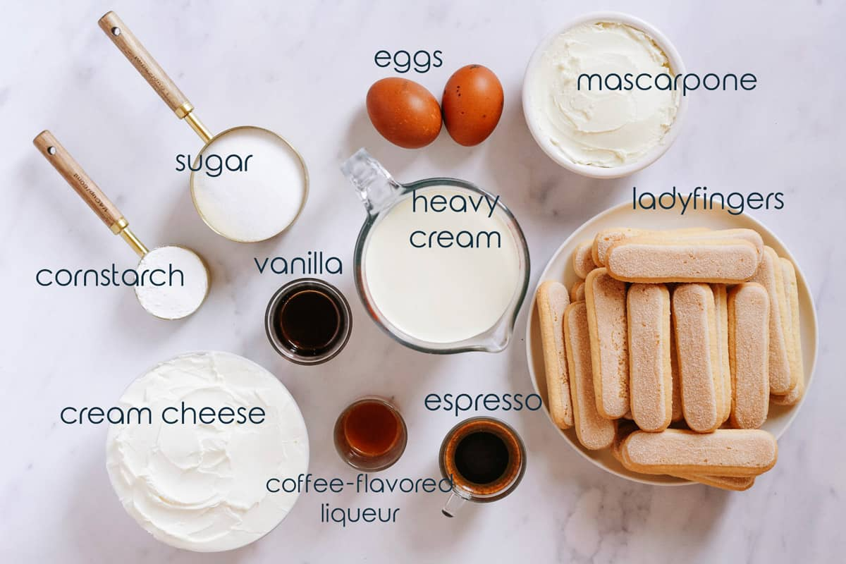 Ingredients for Italian coffee flavored cake