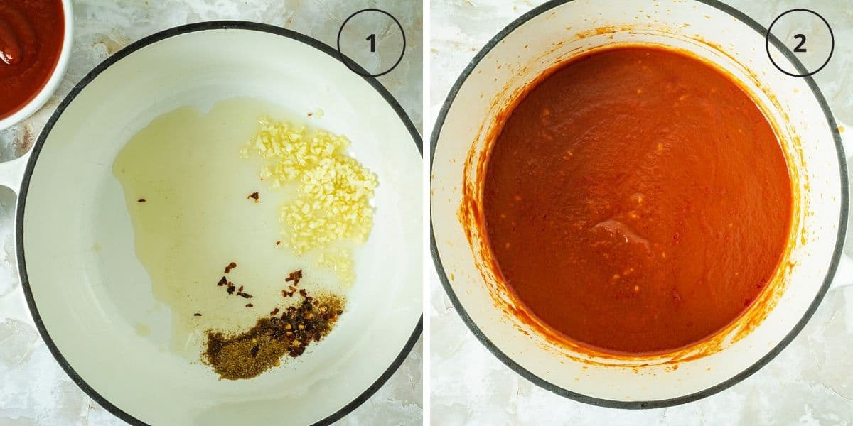 A pot with spices, oil, and garlic and a pot with tomato sauce for Egyptian kushari recipe..
