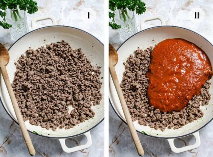 Two photos of white pan with meat and sauce.