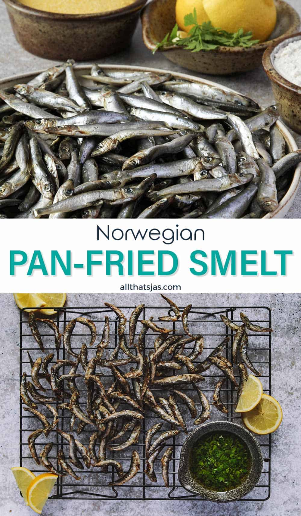 Two photo image of Norwegian pan fried smelt recipe and text overlay in the middle