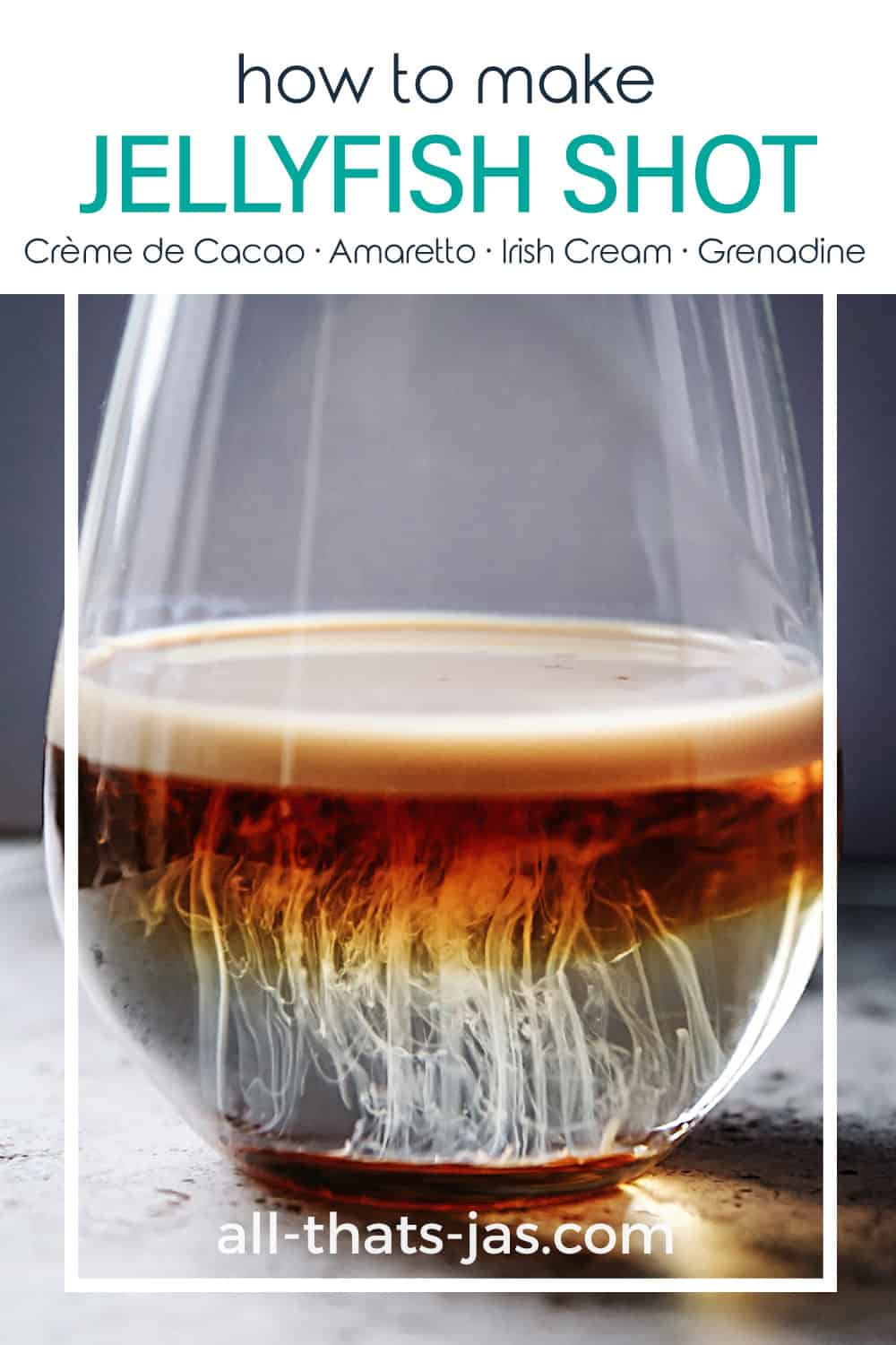 A drink in a glass with text overlay