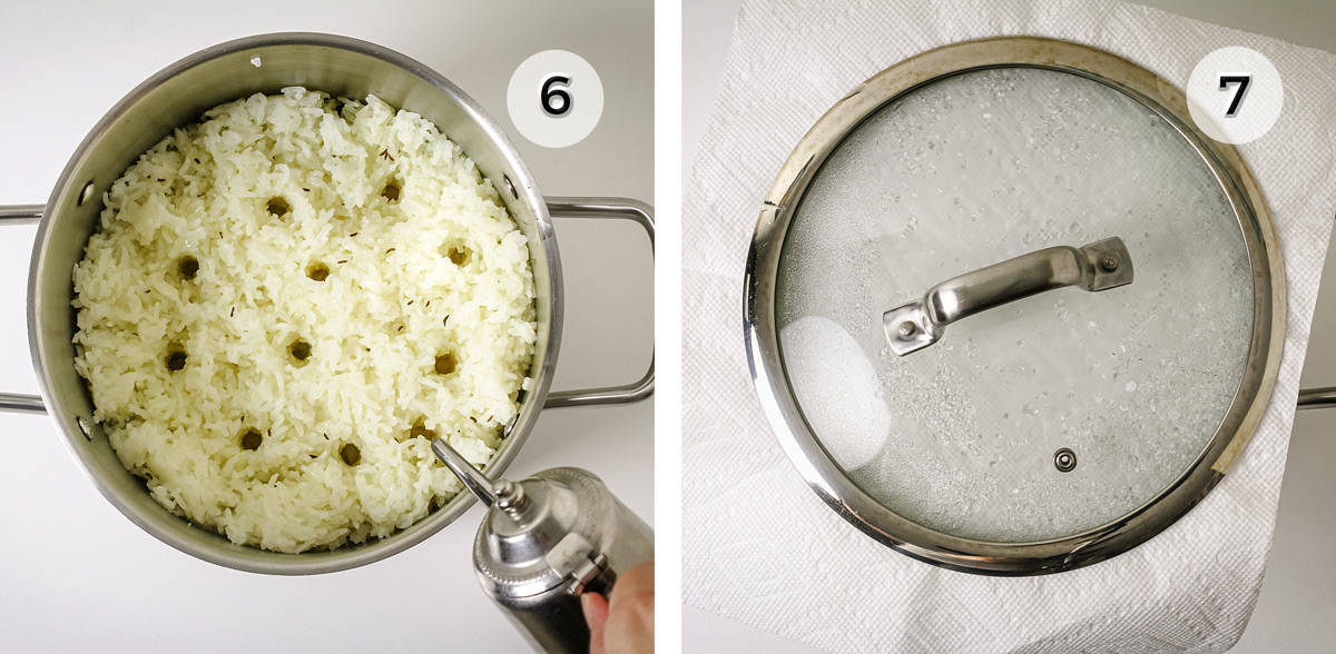 Two photos of a pot with rice and the pot covered with a lid.