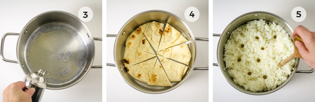 Three photos of pot with different steps to making rice pilaf.