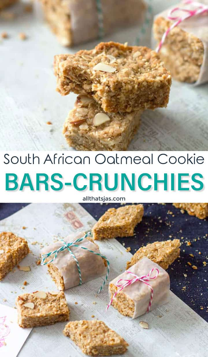 Two photo image of African crunchies with text overlay in the middle