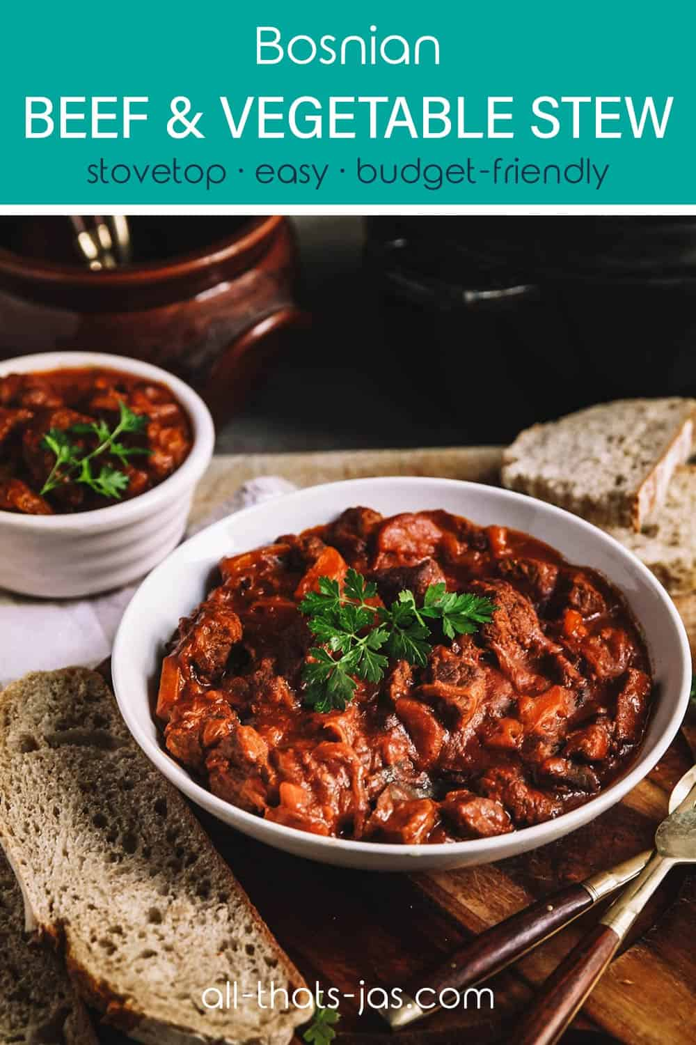 Table with stew servings with a text overlay