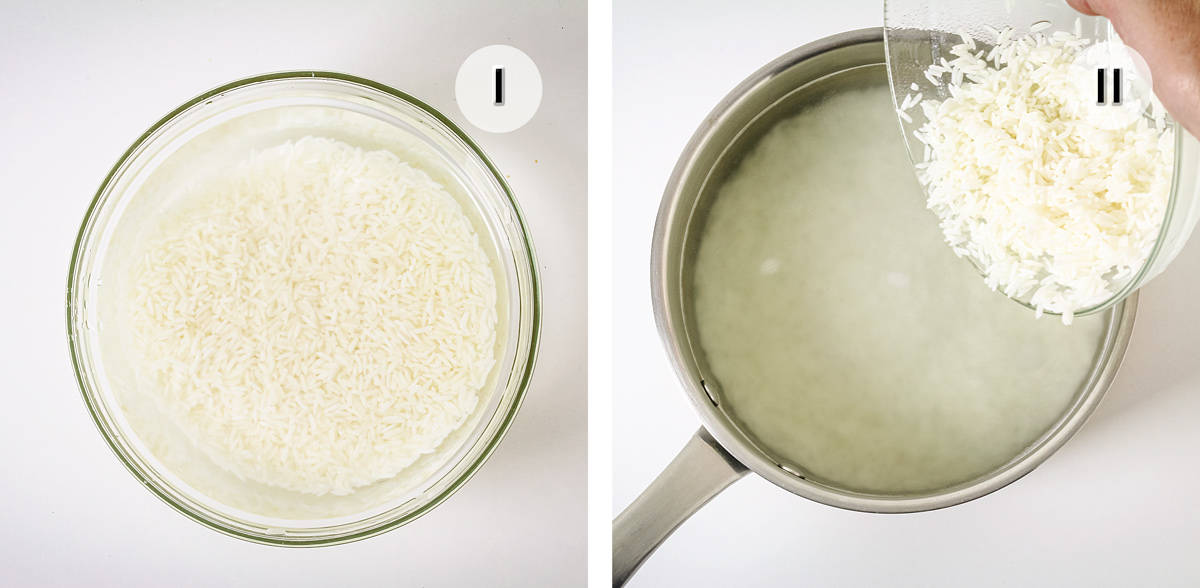 A rice in a bowl with water and adding it to a pot with boiling water.