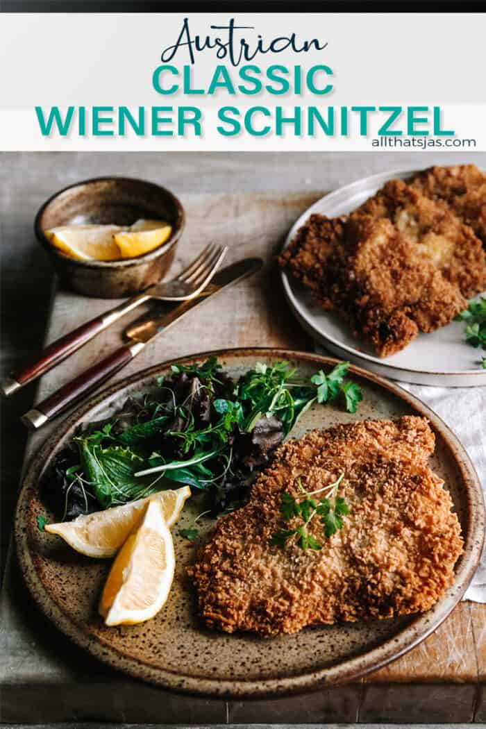 plates with breaded schnitzels and a text overlay