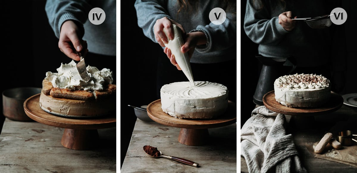 Three photos of a person assembling the cake