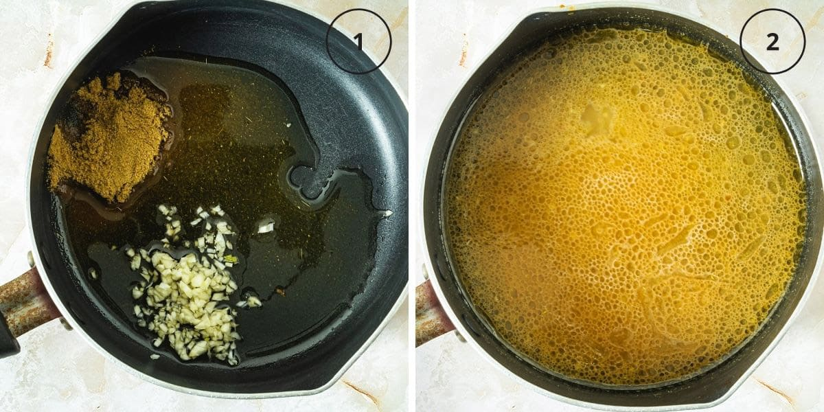 A small saucepan with oil, spices, and another with cooked sauce.