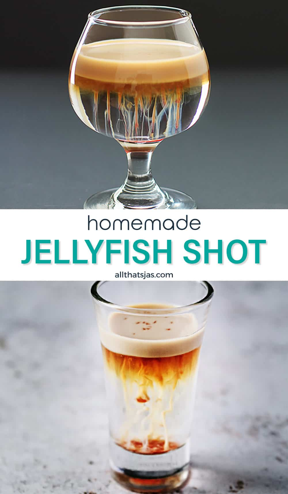Two photo image of jellyfish shots with text in the middle