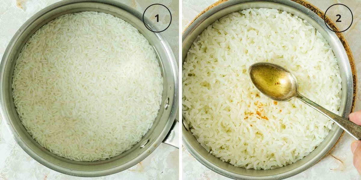 Two photos with pots of uncooked and cooked rice and a spoon with oil