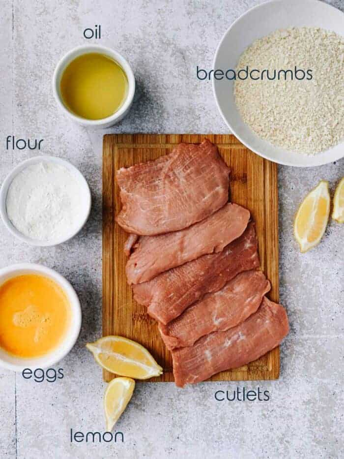 Ingredients for schnitzel recipe